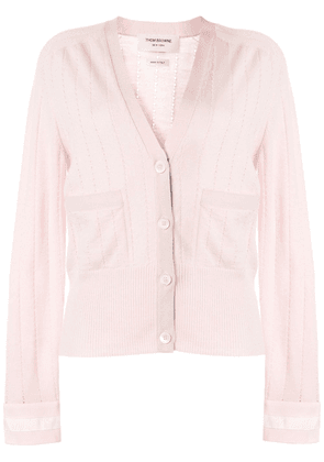 Thom Browne open knit v-neck cardigan - PINK