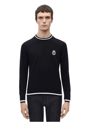 Crest Embroidered Cotton Knit Sweater