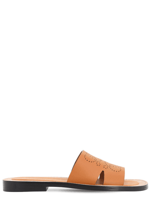 Perforated Anagram Leather Mule Sandals