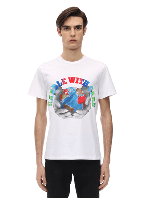 Handle With Care Print Cotton T-shirt