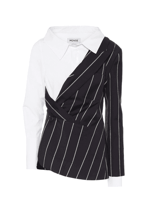 Pinstriped wool and poplin blazer