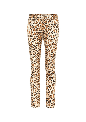 Leopard-print high-rise skinny jeans