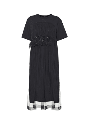 Cotton-jersey and tulle dress