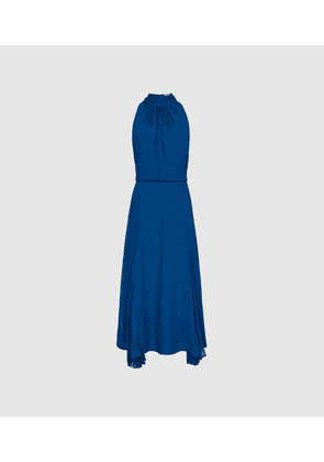 Reiss Jenna - Midi Dress With Bow Detail in Cobalt Blue, Womens, Size 4