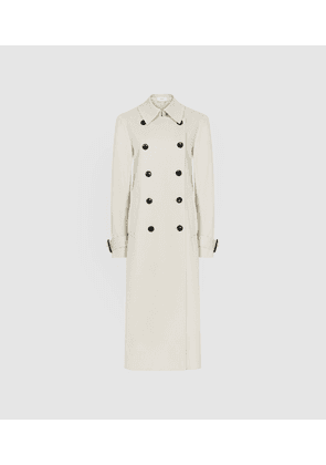 Reiss Pixie - Pleat Detailed Trench Coat in Stone, Womens, Size 4