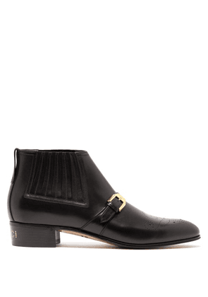 Gucci - Buckled Perforated Leather Boots - Mens - Black
