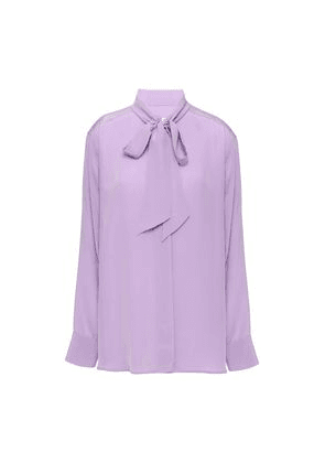 Sandro Pussy-bow Silk Crepe De Chine Blouse Woman Lilac Size 3