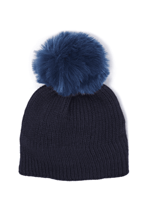 Sandro Faux Fur-trimmed Two-tone Ribbed Wool-blend Beanie Woman Midnight blue Size ONESIZE