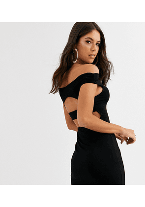 ASOS DESIGN Tall going out bardot cut out back detail mini dress in black