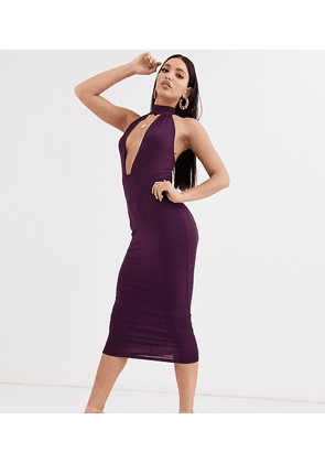 ASOS DESIGN Tall going out deep plunge midi dress in purple