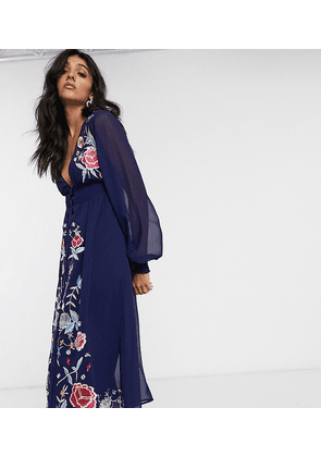 ASOS DESIGN Tall embroidered long sleeve button through midi dress with shirred waist in navy-Blue