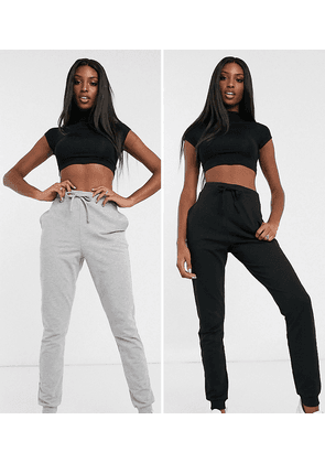 ASOS DESIGN Tall basic jogger with tie 2 pack SAVE-Multi