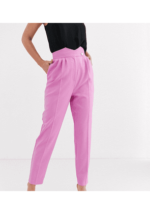 ASOS DESIGN Tall high waist tapered trousers with button detail-Pink