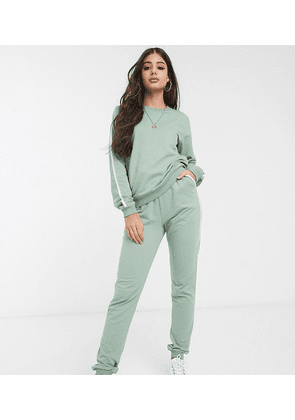 ASOS DESIGN Tall tracksuit sweat / basic jogger with tie with contrast binding in organic cotton-Green