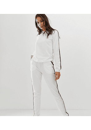 ASOS DESIGN Tall tracksuit sweat / basic jogger with tie with contrast binding-White