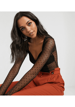 ASOS DESIGN Tall dobby mesh and lace bodysuit with seam details in black