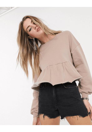 Bershka peplum sweat in camel-Beige