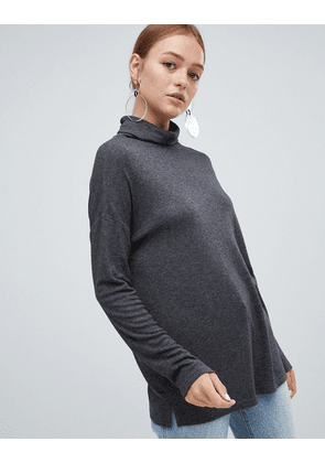 New Look Brushed Roll Neck Top-Grey
