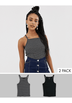 New Look two pack square neck vest in black and stripe-Multi