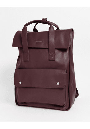ASOS DESIGN backpack in burgundy faux leather with double straps-Red