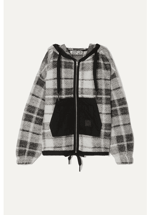 McQ Alexander McQueen - Shell-paneled Checked Cotton-blend Hoodie - Black