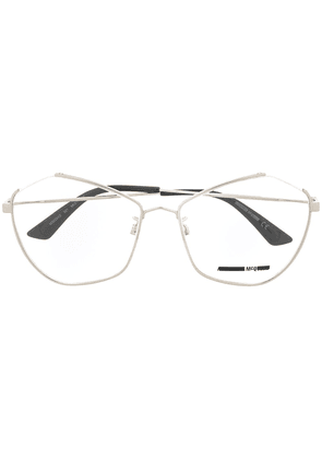 McQ Alexander McQueen angular cat-eye frame glasses - SILVER
