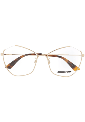 McQ Alexander McQueen angular cat-eye frame glasses - GOLD