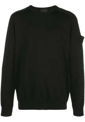 Stone Island logo patch crewneck sweatshirt - Black