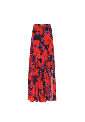 Serence floral stretch-silk skirt