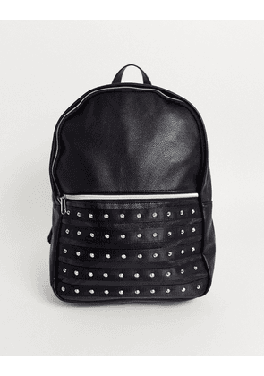 ASOS DESIGN backpack in black faux leather with studding