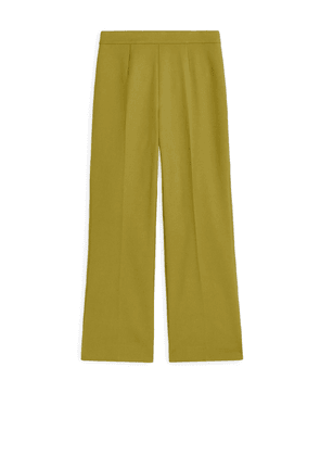 Cropped Cotton Trousers - Yellow