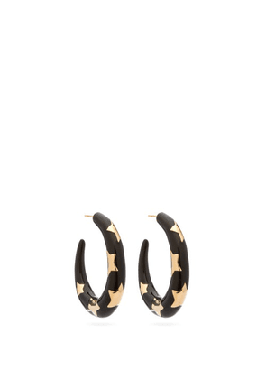 Alison Lou - Étoile Enamel And 14kt Gold Hoops - Womens - Black
