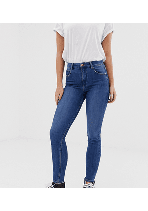 Bershka super high waisted skinny jean in blue