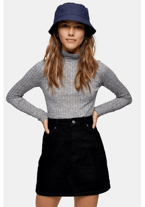 Womens Petite Grey Fine Funnel Neck Knitted Top - Grey, Grey