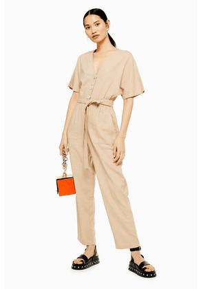 Womens Tallbutton Down Jumpsuit With Linen - Natural, Natural