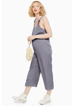 Womens **Maternity Knot Tie Jumpsuit - Charcoal, Charcoal