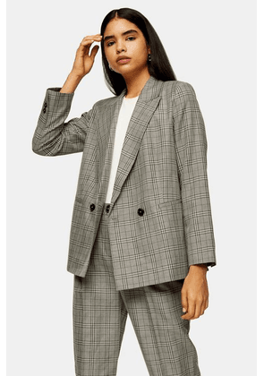 Womens Considered Mint Check Double Breasted Blazer - Mint, Mint
