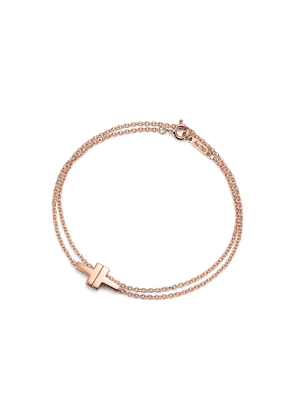 Tiffany T Two double chain bracelet in 18ct rose gold, medium