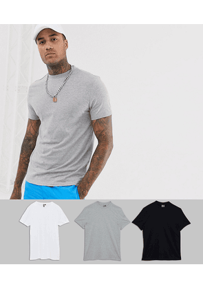 ASOS DESIGN 3 pack organic t-shirt with crew neck save-Multi