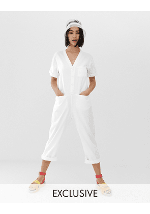 Monki denim boilersuit with organic cotton in off white