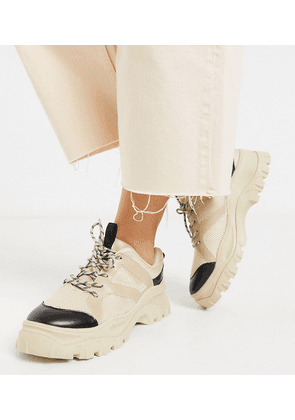 Monki chunky sole mesh trainers in beige