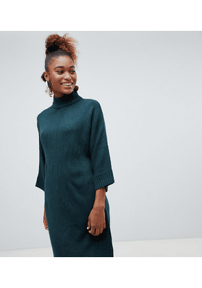 Monki high neck knit dress in dark green