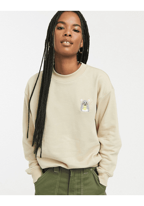 Monki BCi cotton mouse face embroidered sweat in beige
