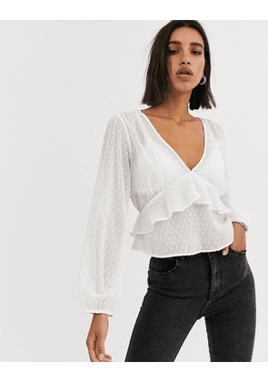 Bershka tie front polka dot blouse in ecru-Cream