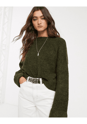 Bershka wide sleeve oversized jumper in green