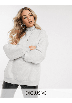 Bershka high neck sweat top in grey