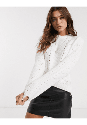 Bershka cable knitted jumper in cream