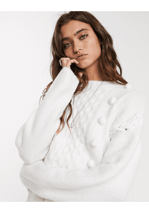 Bershka pom pom knitted jumper in cream