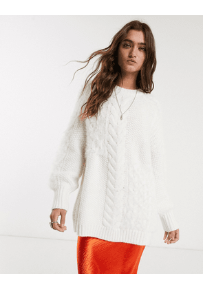 Bershka longline cable knit jumper in ecru-White
