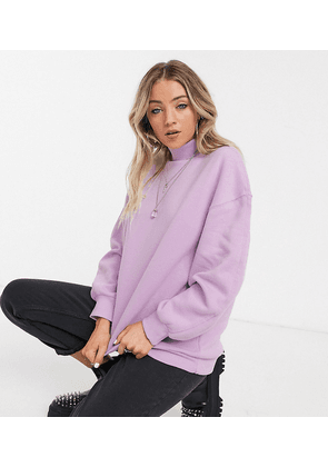 Bershka high neck sweat top in lilac-Purple